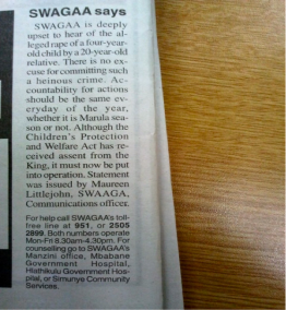 Times of Swaziland article with 'contact template' at the bottom