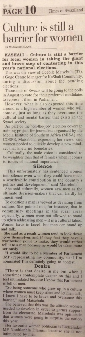 An article by Times of Swaziland reporter Musa Simelane after the practical training day in KaShali