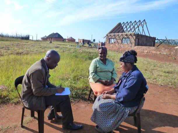 Swazi Observer reporter Joseph Zulu interviewing Mambane