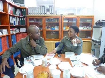 Swazi Observer reporters Joseph Zulu (L) and Winile Masinga (R) in the MISA office before heading off into the field