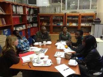 L-R. Maureen LittleJohn (Swagga), Patrick Myeni (freelance journalist), Joseph Zulu (Swazi Observer), Winile Masinga (Swazi Observer), Kwanele Dhladhla (Times of Swaziland), Nontobeko Tshabalala (Times of Swaziland)