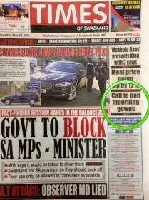 Times of Swaziland front page, Wednesday 22 May, the day after the MISA-COSPE training