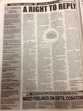 The letter as it appeared in the Swazi Observer on Monday 27 May, 2013