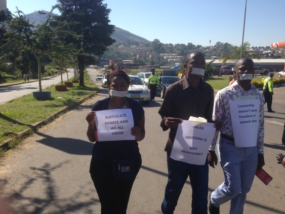 Sending a message: silent marchers in Swaziland on World Press Freedom Day, 3 May 2013, on their way to deliever a petition to government calling for media freedom