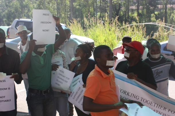 Silent protesters outside Swaziland's information ministry on World Press Freedom Day, 3 May 2013