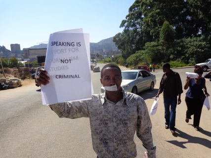 Letting words talk: a silent marcher in Swaziland on World Press Freedom Day, 3 May 2013