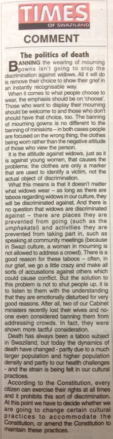 Times of Swaziland editorial about the women's rights, Wednesday 22 May, 2013