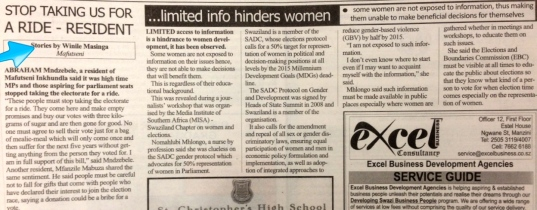 Winile Masinga's articles in the Swazi Observer after the MISA-COSPE training day