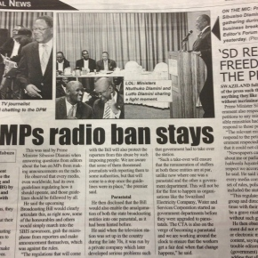 Swaziland respects press freedom, but nothing negative on radio–PM