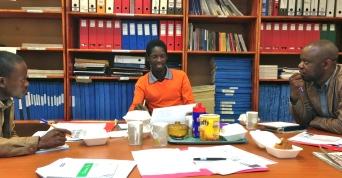 L-R: Zwelihle Sukati (Swazi News), Patrick Myeni (freelance journalist), Joseph Zulu (Swazi Observer)