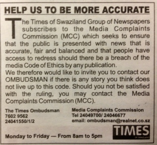 MCC notice in Times of Swaziland