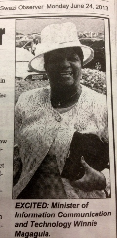 Minister responsible for new communications legislation in Swaziland (Swazi Observer, 24 June 2013)