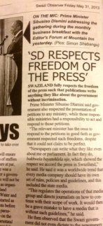 pics of SD respecting press freedom story in Swazi Observer