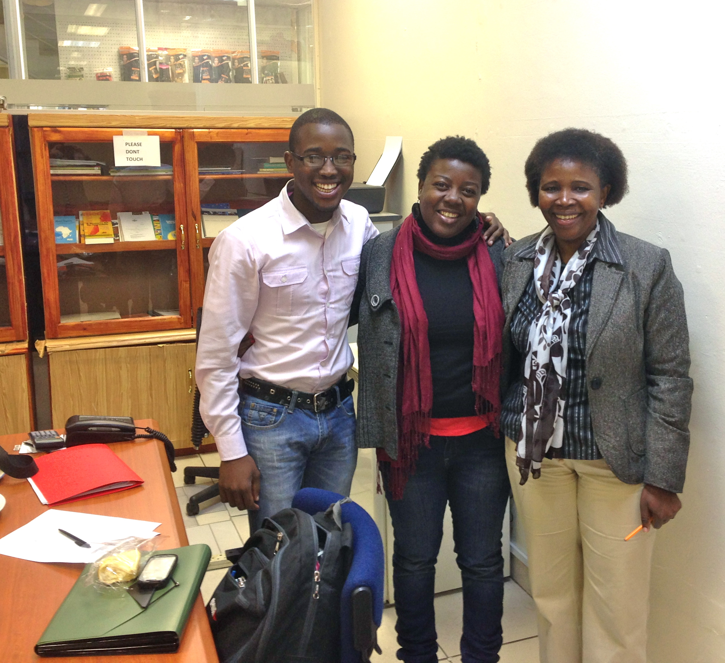 MISA and Save the Children media training. From L-R: Ian Lwazi Dlamini (student and journalist), Koliwe Majama (MISA project coordinator), Siphiwe Nkambule (Super Buddies youth magazine)