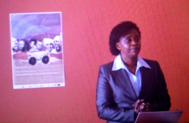UNESCO's Lydia Gachungi speaking at the launch