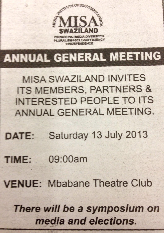 MISA-Swaziland AGM 2013