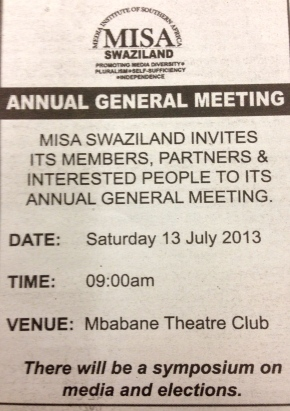 MISA-Swaziland AGM on Saturday 13 July, Mbabane Theatre Club, 9am