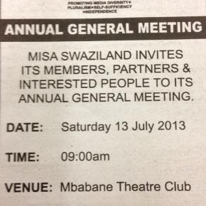 MISA-Swaziland AGM on Saturday 13 July, Mbabane Theatre Club,9am