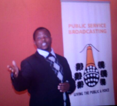Ngwempisi MP Veli Shongwe making a presentation at the launch