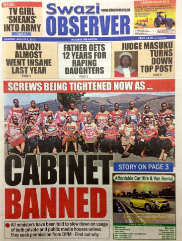 Swazi cabinet banned front page