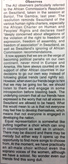 Observers_Times of Swaziland editorial