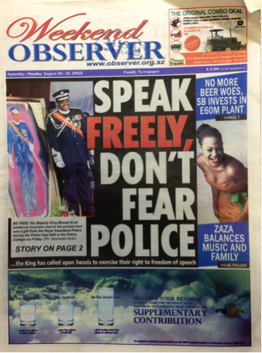 speak freely says Swazi king