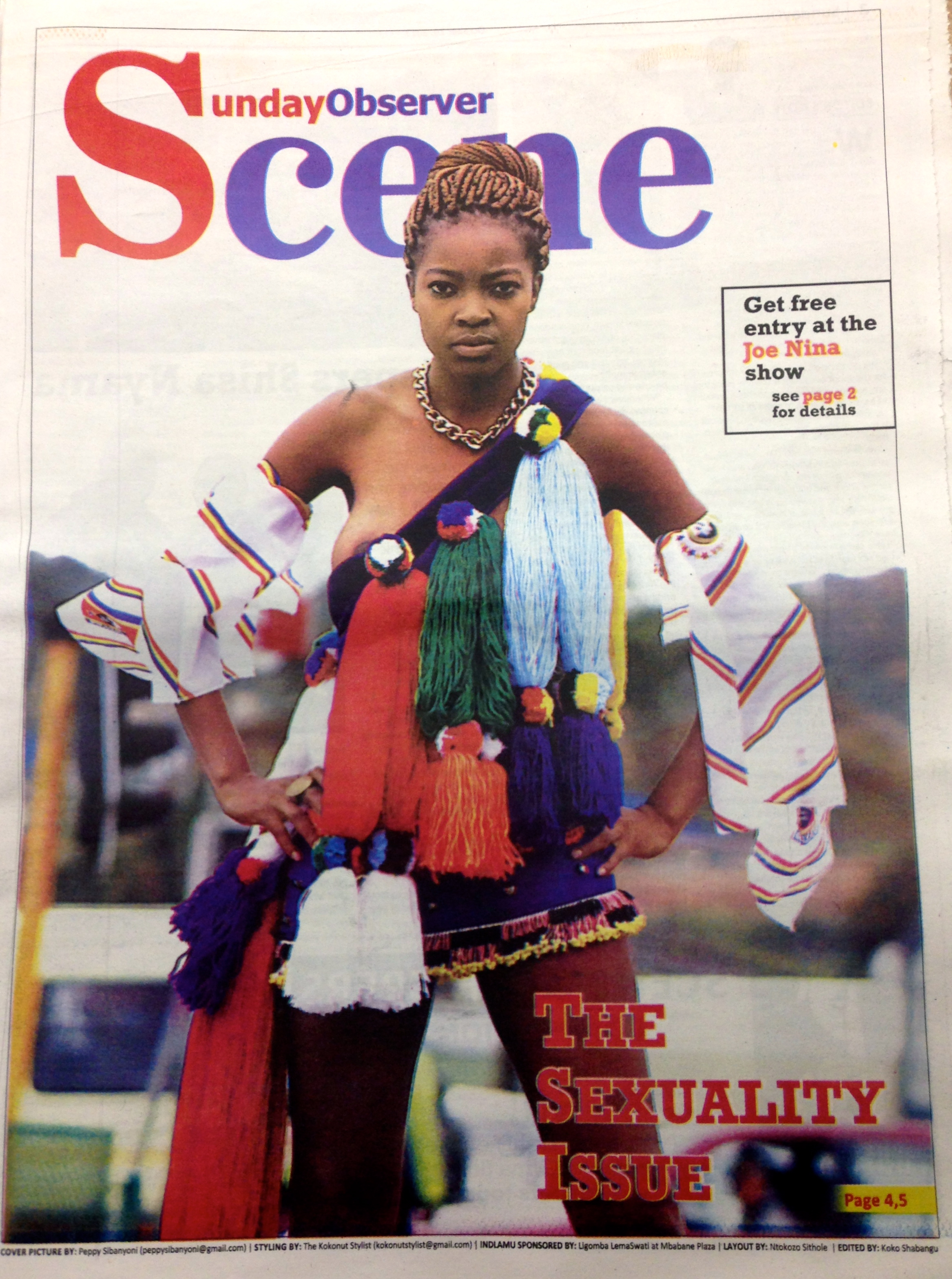 Swaziland has a new newspaper the sunday observer reclaiming the body swazi model sasha groening on front cover of scene sunday observers fashion lift out photo peppy sibanyoni thecheapjerseys Image collections