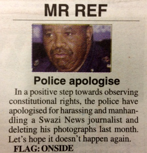 Times of Swaziland applauds Police Commissioner's apology over mediaintimidation