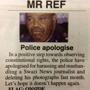 Times of Swaziland applauds Police Commissioner's apology over media intimidation