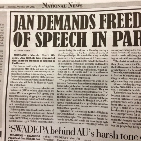Swazi MP calls for free speech to be allowed inparliament