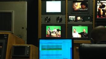 Co-directors and producers Bhekilanga Wakhile Kunene and Phesheya Ian Kunene being interviewed on Swazi TV before the premiere