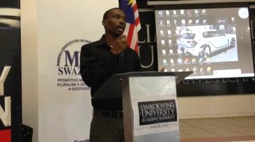 Bhekilanga Wakhile Kunene, co-director and producer of the documentary, speaking at the premiere at Limkokwing University
