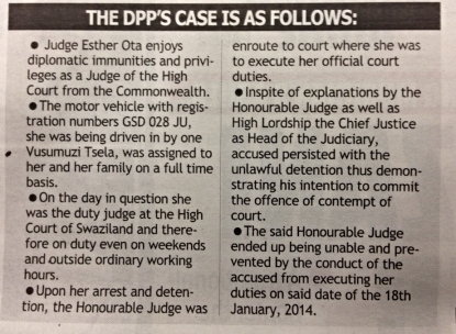 The government's case against its own vehicle inspector. Pic: Swazi Observer, Jan 29 2014