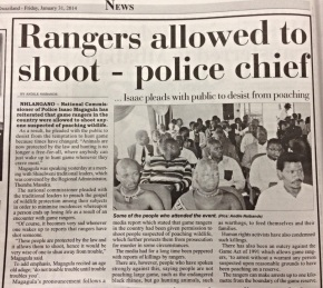 Shoot to kill if you see poachers – police chief tells rangers
