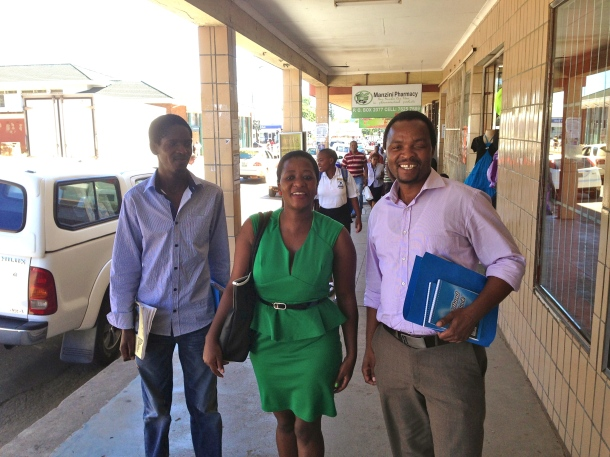 The participating journalists at the training: L-R. Patrick Myeni (The Nation magazine) Winile Mavuso (Swazi Observer), Welcome Dlamini (Sunday Observer)