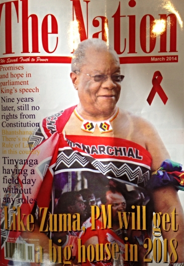 Front of cover of The Nation magazine, with articles that have seemingly landed a journalist and a human rights lawyer in jail. Prime Minister of Barnabas Sibusiso Dlamini on the cover, who is currently in the Seychelles on his honeymoon