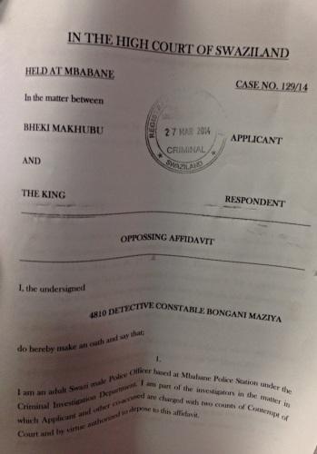 Front page of the Crown's affidavit opposing Bheki Makhubu's bail application