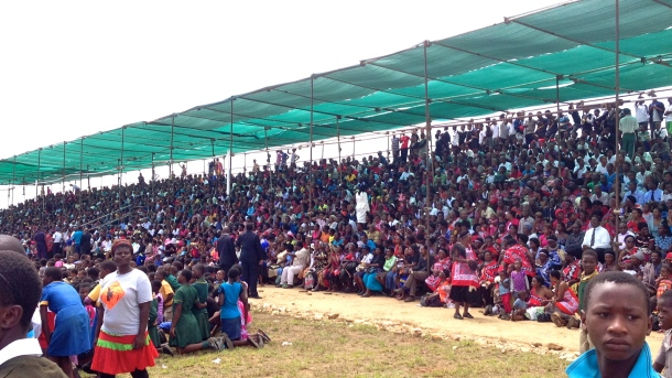 The public section of the crowd waiting for the speeches to begin