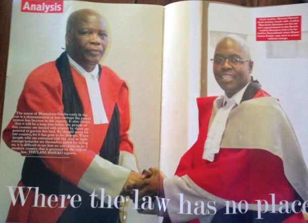 The front page of the opinion piece written by human rights lawyer Thulani Maseko. This article has landed Maseko in detention on contempt of court charges. The article makes mention of chief justice Michael Ramodibedi (the man who issues the warrant of arrest) as well as newly appointed judge Mpendulo Simelane (who presided over the open court hearing of Maseko and his fellow accused, journalist Bheki Makhubu. Makhubu is editor of the The Nation, the magazine where the article appeared.