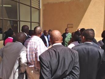 Lawyer Mandla Mkhwanazi addressing onlookers outside the High Court
