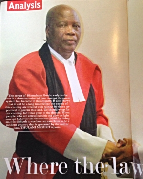 Front page of Thulani Maseko's article in The Nation magazine