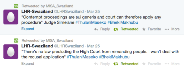 Judge Simelane ordered Makhubu and Maseko back to jail on Tuesday 25 March