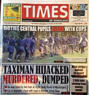 Times of Swaziland front page, March 5 2014
