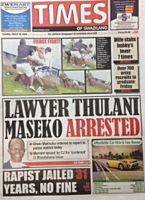Times of Swaziland front page, March 18 2014