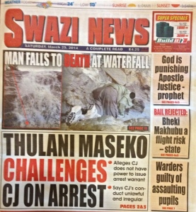 Front page of weekend newspaper 'Swazi News' with headlines about prominent lawyer Thulani Maskeo taking the chief justice to court