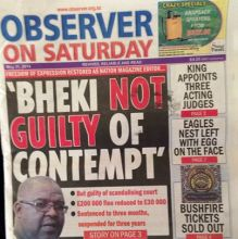 Front page of Observer on Saturday, May 31, 2014