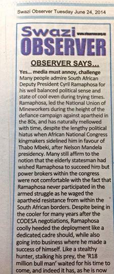 Swazi Observer, June 25 2014