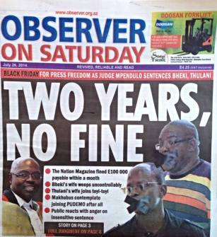 Observer on Saturday 2 years no fine