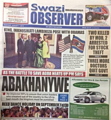 swazi observer PM not happy with unionists