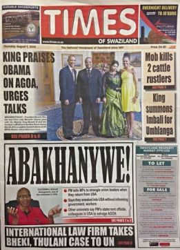 times of swaziland PM says strangle unionists